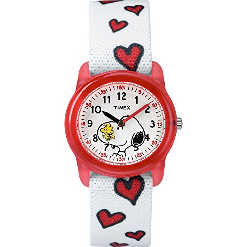Timex Girls TW2R41600 Time Machines x Peanuts: Snoopy & Hearts Elastic Fabric Strap Watch (Timex Herz)