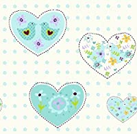 Debona Wallpaper Amour Hearts Aqua 6341 by Debona