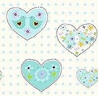 Debona Wallpaper Amour Hearts Aqua 6341 by Debona
