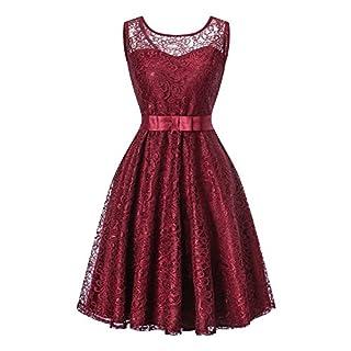 AUSERO Damen Spitzen Rockabilly Kleid Festlich Partykleid Cocktailkleid Brautjungfern Kleid Rundhals A-Linie Ärmellos (Rot, S)