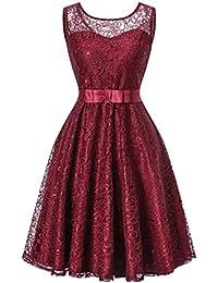 82f2ef830bff H HIAMIGOS Vintage Donna Pizzo Vestito Slim Una Spalla Senza Maniche Abiti  da Sera Elegante Cermonia