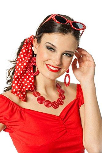 Polka-Dot 60er Jahre Rock´n Roll Set Rockabilly Kette, Brille und Ohrringe
