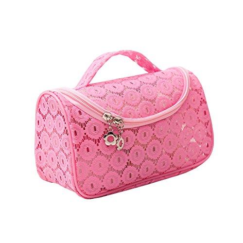Sweet en dentelle florale étanche Voyage Maquillage Organiseur de sac Sacs de rangement Transparent Coque rose rose