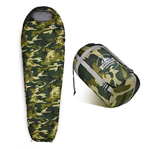 Lumaland Outdoor Schlafsack Mumienschlafsack, 230 x 80 cm, inklusive Packsack, 50 x 25 cm gepackt camouflage grün