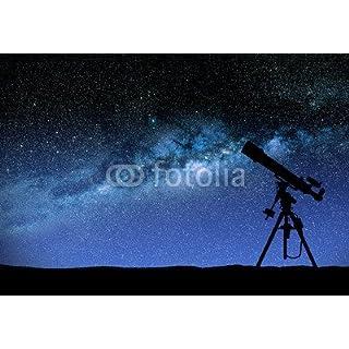 Telescope Watching The Wilky Way (76740693), Aluminium-Dibond, 130 x 90 cm