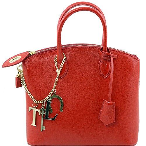Tuscany Leather - TL KeyLuck - Sac cabas en cuir Saffiano - Petit modèle - Rouge
