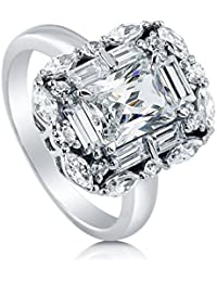 BERRICLE Rhodium Plated Sterling Silver Radiant Cut Cubic Zirconia CZ Halo Art Deco Engagement Ring