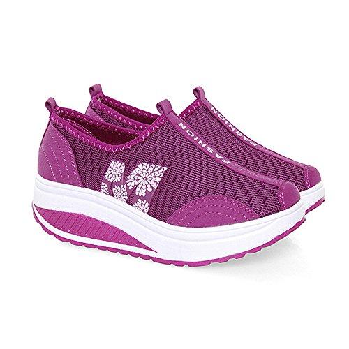 EnllerviiD Damen Sneaker Atmungsaktiv Mesh-oberfläche Schuhe Laufschuhe Plateau Slip On Karminrot