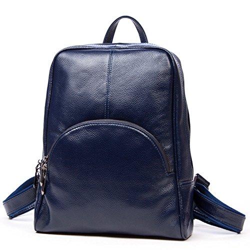 DRF Damen Lederrucksack tägliche Ledertasche Stadtrucksack für Freizeit #BG-127 (Schwarz) Blau