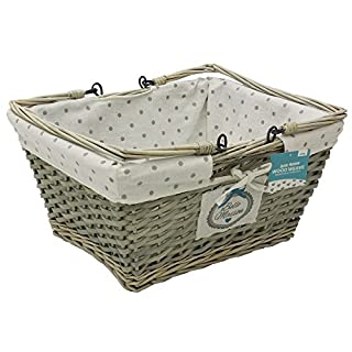 JVL Belle Maison Weave Shopping Storage Basket, wood, Grey, 20 x 41 x 32 cm