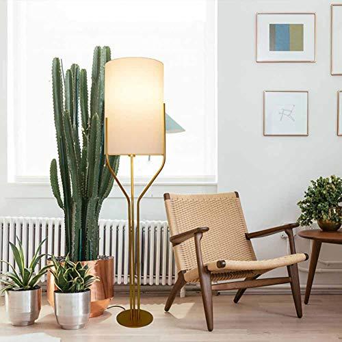 FHTD Nordic New Soft Light Stoff Lampenschirm Stehlampe Schmiedeeisen Bracket DREI Gabel Innenbeleuchtung Nachttischlampe Wohnzimmer Schlafzimmer Warme Atmosphäre Stehlampe,Big Bronze Gabel