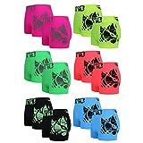 ReKoe 12er Pack Boxershorts Pants Shorts Unterwäsche Neon Farben mit Motiv Uomo Tattoo, Größe:M/L