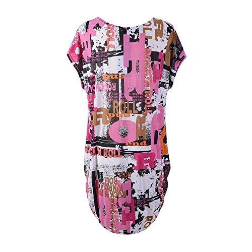 katuo femmes robe à manches Cap pour femme à motif floral mélange de coton Tee Tops Pink Doodle B-08
