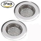 NHsunray 2pcs Edelstahl-Spüle-Sieb Abnehmbare Hochleistungs-Abfluss-Filter Perfekt für Küche Badezimmer Waschbecken Stopp Haar Entsorgung Abfälle (geeignet für Abfluss 3,3-3,7