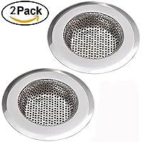 """NHsunray 2pcs filtro de drenaje de cocina de acero inoxidable extraíble filtro de drenaje de servicio pesado perfecto para lavado de lavabo de lavabo de cocina lavado de residuos de eliminación de cabello (adecuado para drenar 3.3-3.7 """", cromo)"""