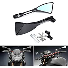 KaTur – espejo retrovisor para motocicleta en forma de triángulo, color negro, estilo CNC, mecanizado de aluminio, montaje con tornillos, para Yamaha MT-01MT-03WR TDM TDR TW Fazer XJR XJ TDM XTZ V Max WR FZ1FZ6FZ8