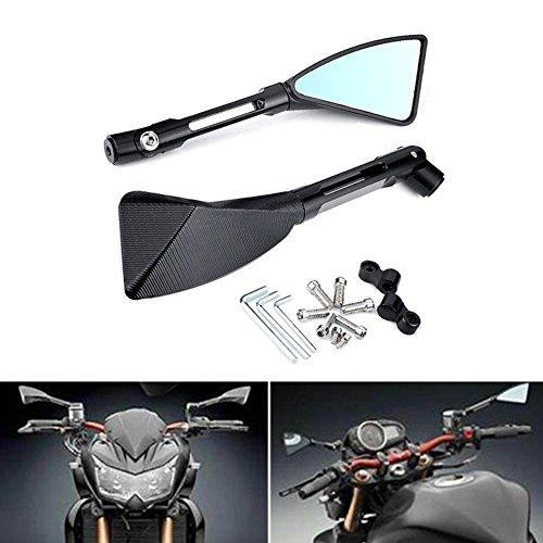 Retrovisores KaTur para motocicleta, con forma triangular, de color negro, de aluminio...