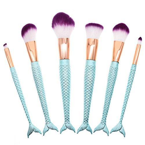 Dolovemk 6 pièces Mermaid Fish-tail Lot de pinceaux de maquillage pour poudre, fond de teint d'appliquer la configuration, fard à joues souligner, visage blending