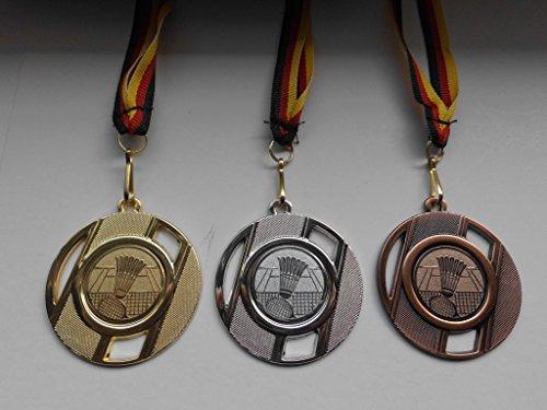 Fanshop Lünen Medaillen Set - Metall 50mm - Badminton - Gold, Silber, Bronze - Federball - Alu Emblem 25mm - Gold,Silber,Bronce - mit Medaillen-Band -