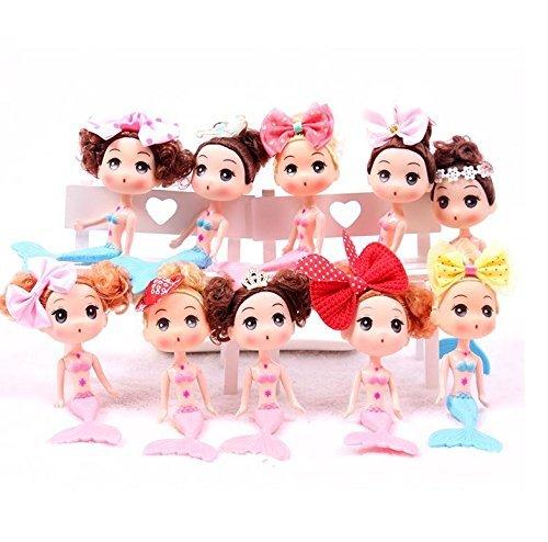 t 10 Meerjungfrauen-Puppen, für Prinzessinnengeburtstag, Party-Gastgeschenke und Zubehör, verschiedene Stile ()