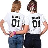 Sister Shirt für Zwei Damen Mädchen bset Friends Tops Beste Freundin T-Shirt 2 Stücke Freundschaft BFF Shirts Sommer Baumwolle Tops(Weiß+Weiß,Blondie-S+Brownie-S)