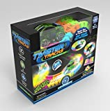 immagine prodotto Mindscope Twister Tracks Neon Glow in the Dark 221 Piece (11 feet) of Flexible Assembly Track Race Series