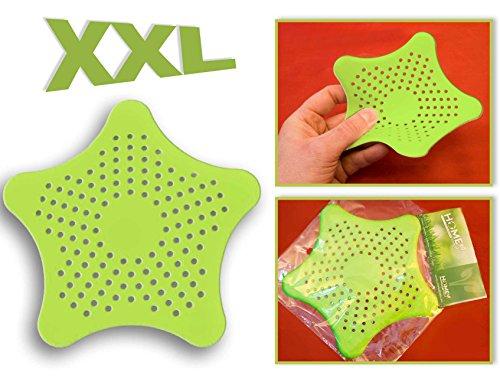 Preisvergleich Produktbild HOMETOOLS.EU® - XXL großes Silikon Abfluss-Sieb mit Saugnäpfen | für Küche Spüle Bad Wanne Dusche gegen Haare, Krümel | 15 x 15cm, grün