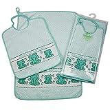 Set Asilo Scuola Materna ELEFANTE BIRBANTE 2 pezzi: bavaglino spugna con elastico cm.29X35 e asciugamano cm.40x60 Spugna di Cotone 100% Made in Italy (Verde)