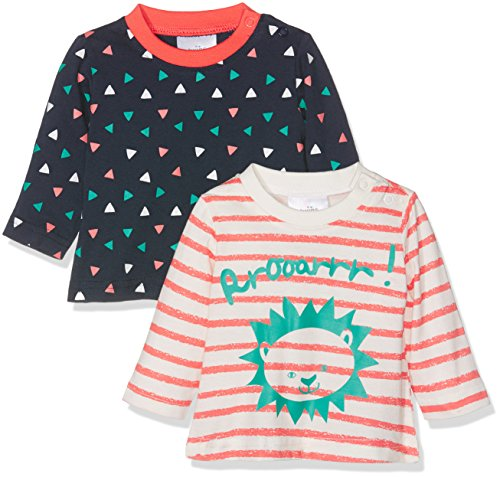 Julius Hüpeden GmbH Twins Baby-Mädchen Langarmshirt 2er Pack, Mehrfarbig (Blau/Weiss,Orange), 50
