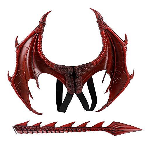 Kostüm Wings Demon - HYMZP Halloween Requisiten, 5-10 Jahre alte Kinder verkleiden Sich Spielzeug Cosplay Dragon Wings mit Schwanz, Stage Drama Performance Requisiten Demon Wings Anzug,Rot