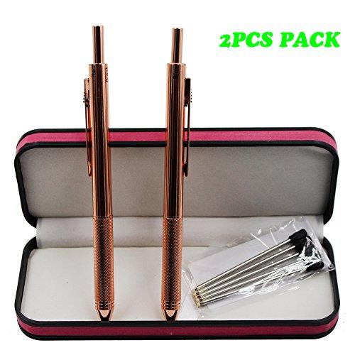 JASON YUEN 2PCS PACK 4 in 1 Multifunktionsfeder 4 Farben-Feder mit 0.5mm mechanischem Bleistift und schwarzem/rotem / blauem Kugelschreiber im Geschenk-Paket (Rosengold)