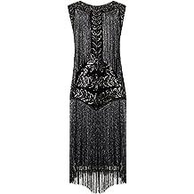 Vijiv mujer Vestidos de charnela 1920 vestido de cóctel de la vendimia Gatsby completa con flecos