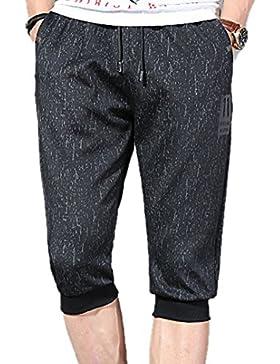 Pantalones cortos de playa de 3/4 hombres, pantalones cortos de playa con estampado de plumas de camuflaje Cintura...