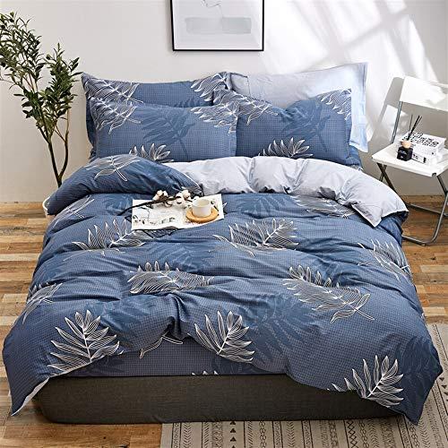 UOUL Bettwäscheset Baumwolle 4-teilig Verblasst Nicht Atmungsaktiv Doppelblattmuster Schwarz Jugendzimmer Voll \ Königin,Navy Blue,Full\Queen