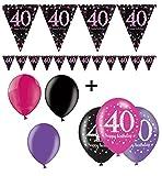 Fête d'anniversaire Rigide 40 Ans I 7 pièces All in One Set Guirlande de fanions Rose/Noir