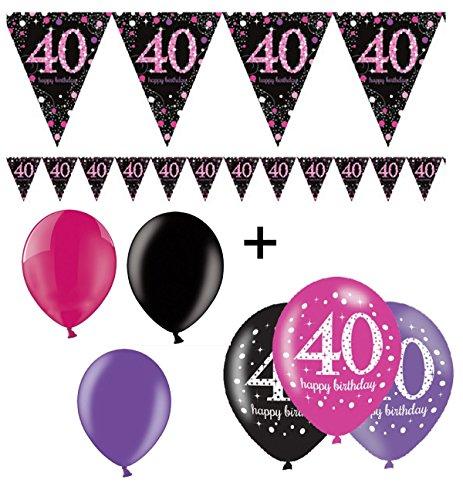 Feste Feiern Geburtstagsdeko 40. Geburtstag I 7 Teile Deko-Set Luftballon Wimpelkette Girlande Banner Pink Schwarz Violett Metallic Party Deko Happy Birthday 40