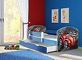 Clamaro 'Fantasia Blau' 180 x 80 Kinderbett Set inkl. Matratze, Lattenrost und mit Bettkasten Schublade, mit verstellbarem Rausfallschutz und Kantenschutzleisten, Design: 05 Rennwagen Rot
