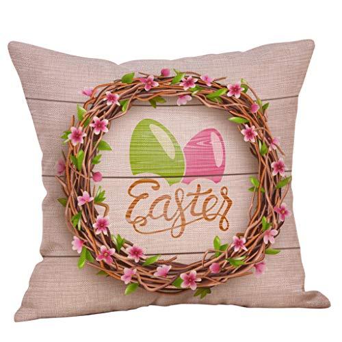UFACE Ostern Dekorativ Kissenbezug,Nette Easter Bunny Muster Festival Kissenbezüge Mode Sofa Auto Cafe Bett Büro Dekor Kissenhülle Weich Bequem für Wohnzimmer Schlafzimmer -