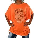 Diva-Jeans G410 Damen Longshirt Shirt Tunika Bluse Uhu Eule T-Shirt Tank Top Minikleid, Farben:Orange, Größen:Einheitsgröße