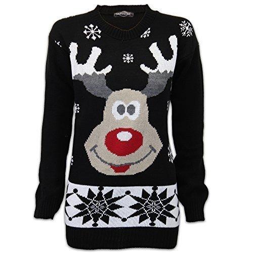 Unisex Threadbare 3D Neuheit Weihnachten-jumper Gestrickt Rundhals Pullover Schwarz - SAROUD14BYZ