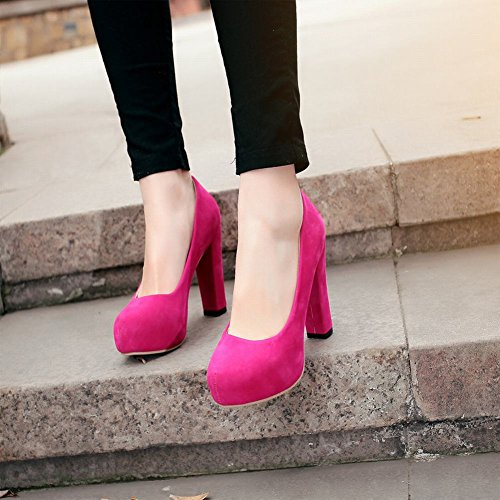 Mee Shoes Damen innen Plateau runder toe Nubukleder high heels Pumps Rosarot