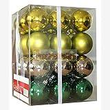 36 x bolas para árbol de bolas de plástico bolas decorativas (verde/plateado)