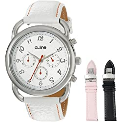 a_line Women's AL-80012-02-WH-SSET Maya Stainless Steel Watch with Three Interchangeable Leather Bands