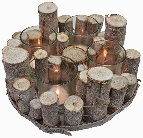 CHICCIE Holz AST Teelichthalter - Vintage Tischdeko Kerzenhalter Landhausstil Natur Deko (4er Rund)