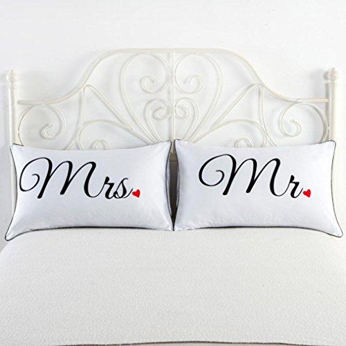 kingko® Ein Paar 74 * 48 cm Drucken-Paarkissen Bettwäsche-Hochzeits-Jahrestags-Romantisches Geschenk (B)