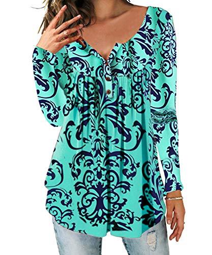 DEMO SHOW Damen Tunika Top Locker Langarm V Ausschnitt Knopfleiste Plissiert Floral Henley Shirt Bluse T Shirt (Mintgrün, XL)