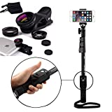#2: Shopizone Yunteng YT 1288 Bluetooth Selfie Stick with 3 in 1 Metal Body Mobile Camera Lense Kit Combo For Apple, Samsung, HTC, Lenovo, Oneplus, Motorola, Nexus, Xiaomi Redmi Note 3, Coolpad Note 3 Plus, Lenovo Zuk Z1 / Vibe k5