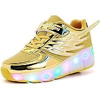 Mr.Ang Niños Unisex LED Luz Parpadea Ruedas Zapatillas Auto-párrafo Zapatos Patines Deportes Zapatos Correr Para Niños Navidad Año nuevo Regalo Malla de zapatos calzado transpirable
