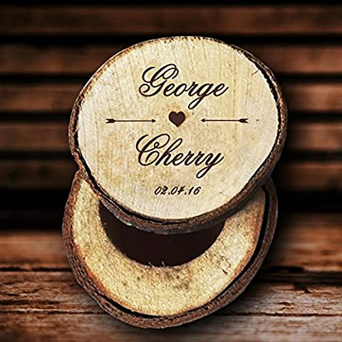 Personalised Bride and Groom Name Wedding Ring Box Wood Custom Date Ring Holder for Ceremony Wedding Gifts for Couples