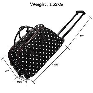 Ladies Travel Holdall Bags Hand Luggage Womens Polka Dot Weekend Wheeled Trolley Handbag